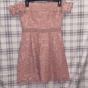 pink lace detail dresss